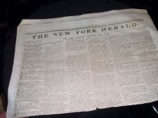 RARE ANTIQUE NEWSPAPER NEW YORK HERALD APRIL 14 1847 JAMES GORDON BENNETT